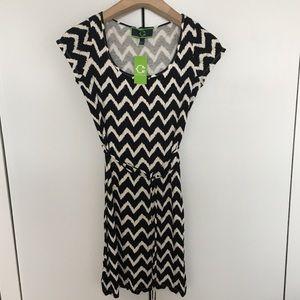 C wonder zigzag dress black and white xs-small New